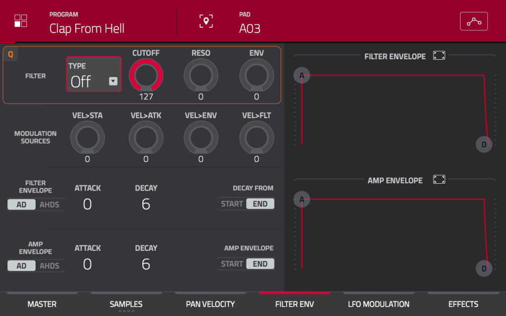 MPC Touch: Filter Envelope