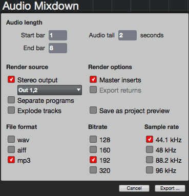 Audio Mixdown