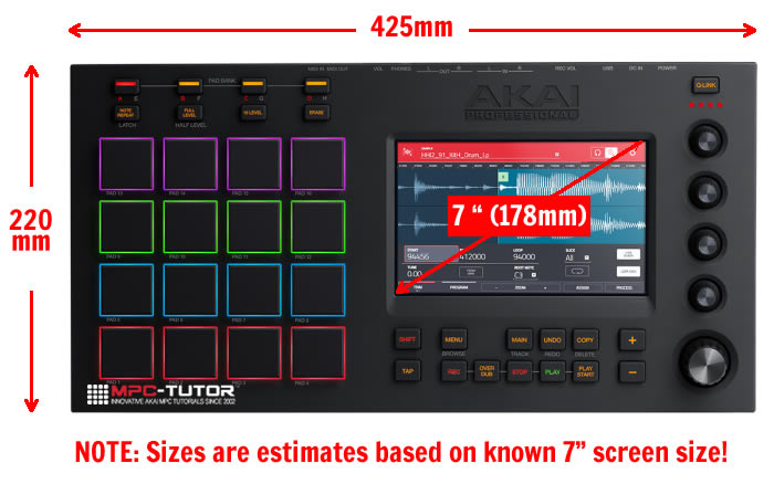 MPC Touch Dimensions